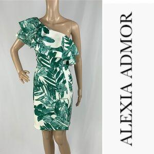 BNWT ALEXIA ADMOR one shoulder sheath palm leaves